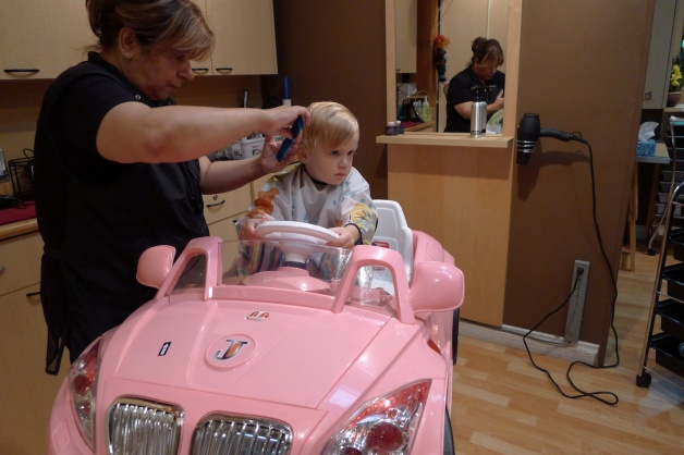 Come hair cut time, nothing beats the pink car.