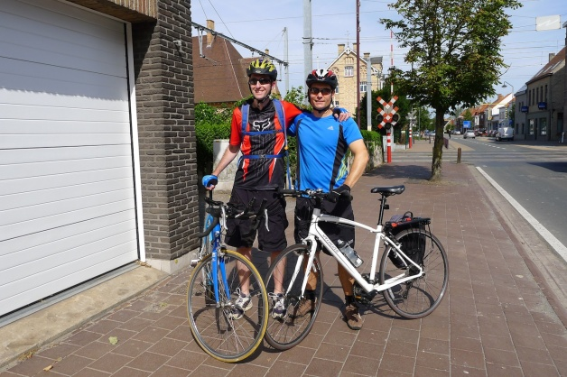 Iain and I set off on our cycling adventure across Belgium